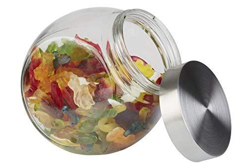 APS Vorratsglas – Behälter mit Premium Glaskugel-Optik und einem Schraubdeckel aus rostfreiem Edelstahl – Aromadichte durch den hochwertigen Schraubdeckel