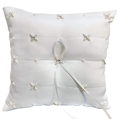 Ringkissen Hochzeit, Weiß mit Strass und Perlen, 20 x 20 cm Kissen für Trauringe Traukissen