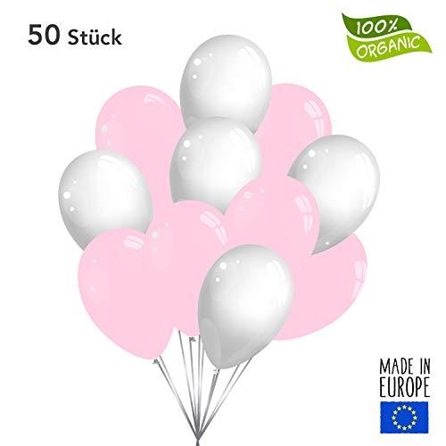 50 Premium Luftballons in Rosa/Weiß - Made in EU - 100% Naturlatex somit 100% giftfrei und 100% biologisch abbaubar - Geburtstag Party Hochzeit Silvester Karneval - für Helium geeignet - twist4®