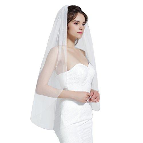 BEAUTELICATE Schleier Brautschleier Braut Hochzeit Softtüll Weiß Ivory Lang Kurz Ellbogenlang Mit Metall Kamm 1 Schicht V67