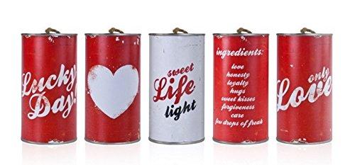 5 Stk Metalldosen für Hochzeitsauto Blechdosen Autocorso rot mit weissem Aufdruck Dosen Hochzeitsfeier Wedding Cans