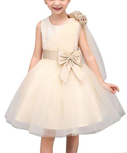 Happy Cherry Mädchen Festliche Kleider Brautjungfern Hochzeitskleid Tüll Festzug Kleid Blumenmädchen Kleid Partykleid Schleife Blumen Abendkleid
