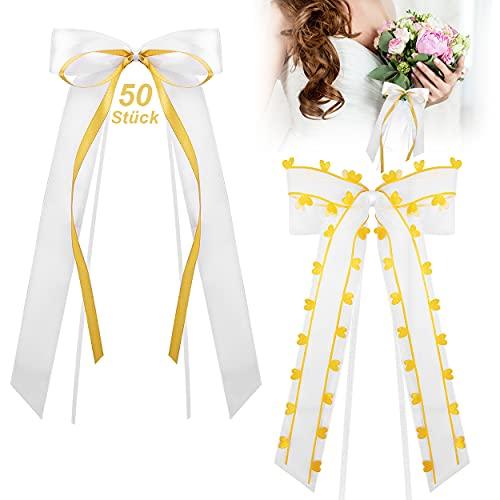 COCHIE 50 Stück Schleifen Hochzeitsdeko Vintage, Autoschleifen Antennenschleifen zum Autoschmuck Hochzeit Deko für Tisch, Golden