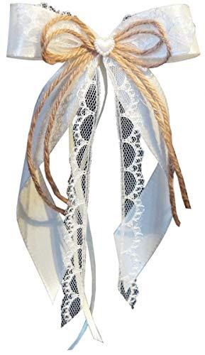 unser schönster Tag Antennenschleifen zur Hochzeit Liesl SCH150 Vintage im 10er Set - Shabby Spitze Landhaus Weiss