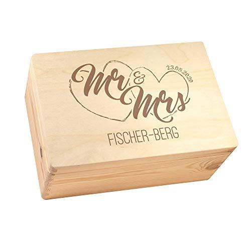Casa Vivente Erinnerungskiste zur Hochzeit mit Gravur Personalisiert mit Namen und Hochzeitsdatum, Keepsake Box aus Holz, Hochzeitsgeschenke