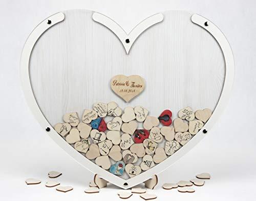 Laserano Edles Hochzeitsgästebuch, Herzform, Silber, Holz Herzchen - Personalisierbar mit Wunschgravur (Dekor Eiche WEIß, L - 50 x 40 cm)