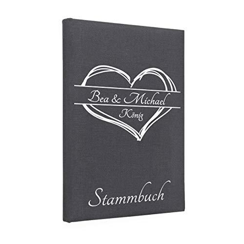 Hochzeitideal Stammbuch der Familie, Familienstammbuch aus Buchbinderleinen, Nr. 161 inkl. Personalisierung (Grau)