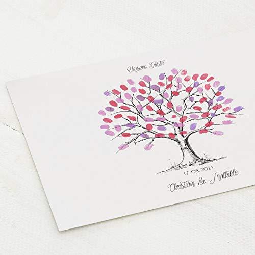 sendmoments Poster Fingerabdruck, Baum Hochzeit, Querformat 40x30 cm, personalisiert mit Text, kreative Verewigung der Hochzeitsgäste, originelles Gästebuch, optional mit Stempelkissen