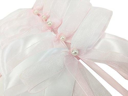 Liebchen & Co Schleifen aus Satin und Organza für Feierlichkeiten, Hochzeitsschleifen, Dekorationsschleifen, Autoschleifen, Antennenschleifen in weiß-rosa (weiß-rosa, 10)