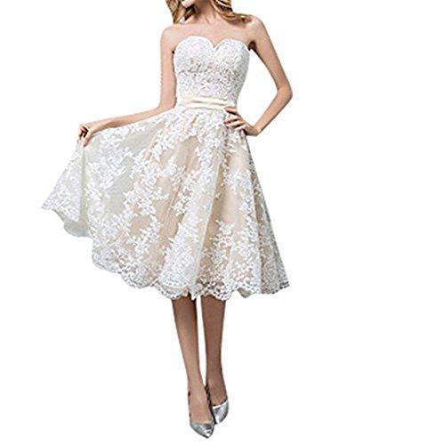 Cloverbridal Hochzeitskleider Für Damen Weiß Standesamt Kurz Tüll Spitze A Linie Champagner Brautkleider Bildfarbe 40