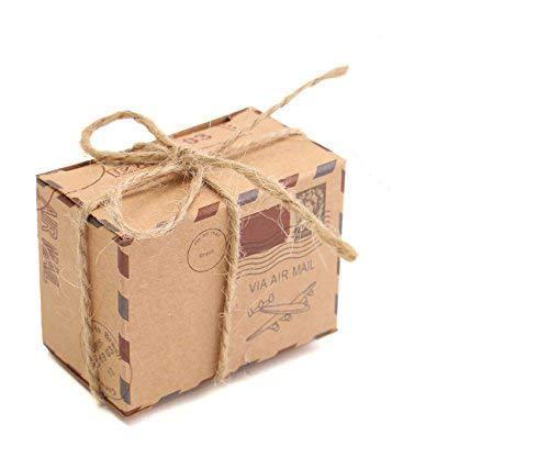 E-Goal 50Pcs/Pack Reise-themed Luftpostentwurf Kraftpapier-Hochzeits-Bevorzugungs-Süßigkeit-Kasten mit Leinwand-Zwirn und Metalldekoration