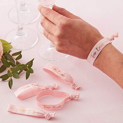 5er Set Freundschafts-Bänder/Arm-Bändchen'TEAM BRIDE' in pink & rosé-gold für Junggesellinnen-Abschied JGA-Party Frau-en Accessoires Hochzeit Hochzeit-s-Deko-ration Hen Party-Zubehör