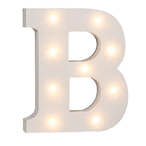 schenken-24 Beleuchtete Buchstaben (A - Z) mit LED-Birnchen, weiß, ca. 16 cm Höhe, Buchstaben:B