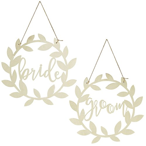 Stuhl-Schilder / Wand-Schilder 'Bride & Groom' aus Holz / Hochzeits-Deko / Stuhl-Dekoration / Hochzeits-Zubehör