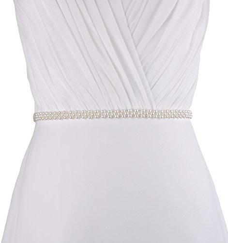 Unbekannt Brautgürtel Taillenband Damen Gürtel Abendkleidgürtel Perlen Weiß Ivory Damengürtel Perlengürtel Satinband Satin Band (Ivory)
