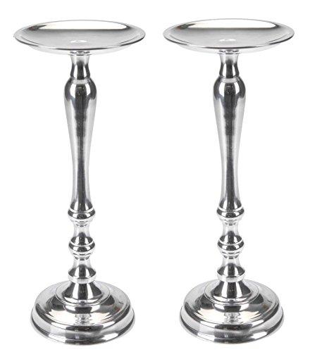 Marzoon Metall Kerzenleuchter Kerzenständer für Stumpen Kerzen in Farbe Silber, Höhe 27cm mit rundem Fuß (2 Ständer)