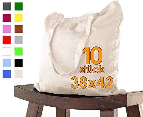 Baumwolltasche 38x42 cm 10 Stück Natur unbedruckt, lange Henkel Stofftasche Tragetasche, Beutel, Baumwollbeutel, Jutebeutel OEKO-TEX zertifiziert Stoffbeutel Einkaufsbeutel Einkaufstasche zum bemalen