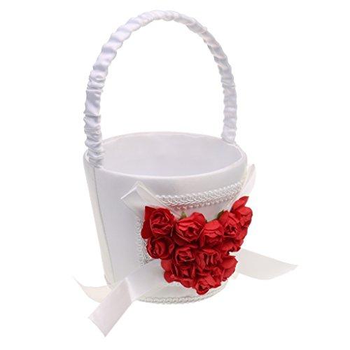 MagiDeal Liebe Herz Rose Blumenmädchen Korb Perlen Strass Dekor für Hochzeit