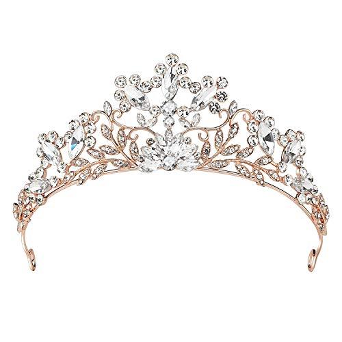 SWEETV Schmuck Krone für Frauen Haarzusätze Hochzeit Krone Kristalle Tiara Diadem für Festzüge Abschlussbälle, Gold