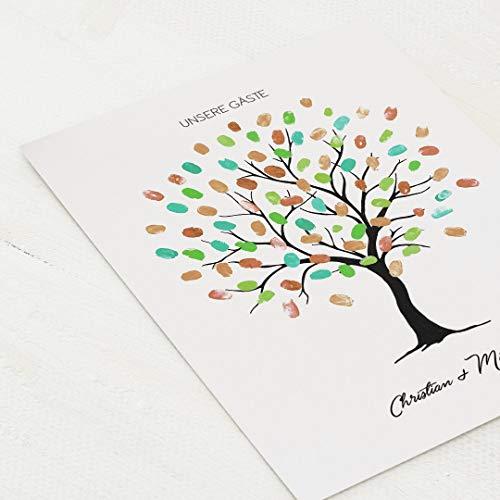 sendmoments Poster für Fingerabdrücke, Wedding Tree Holz, Hochformat 30x40 cm, personalisiert mit Text, kreative Verewigung der Hochzeitsgäste, originelles Gästebuch, optional mit Stempelkissen