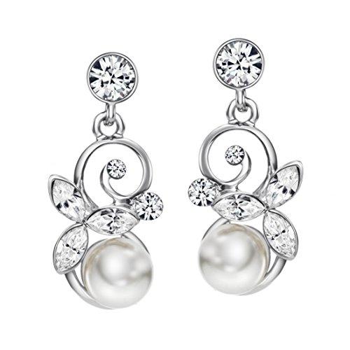 NEOGLORY Silber Ohrringe mit Swarovski® Elements Strass und Perlen Weiß