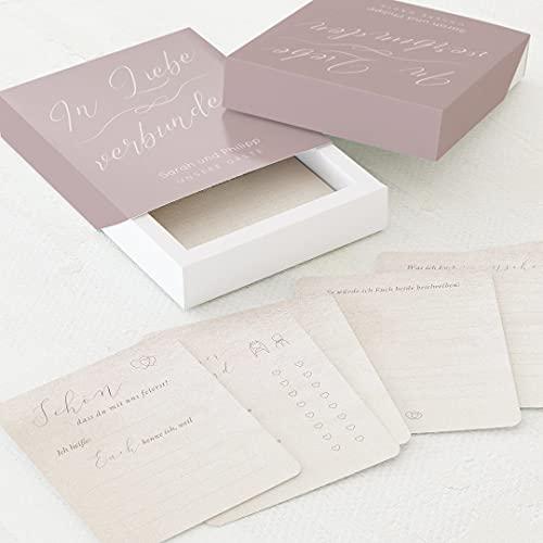 sendmoments Gästebuch Karten für die Hochzeit zum Ausfüllen, 60 vorgedruckte Gästebuchkarten 88 x 105 mm in personalisierter Erinnerungsbox mit Text, Buchstaben Liebe, Hochzeitsgeschenk