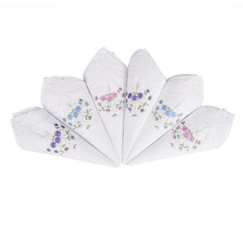LULUSILK 6 Stücke Damen Stoff Taschentücher 100% Baumwolle mit Blumen Stickereien und Spitze Schmetterling Kante