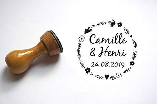 Hochzeitsstempel Benutzerdefinierte Stempel, Landhausstil. Zur Personalisierung des Briefumschlags, mit den Namen und datum