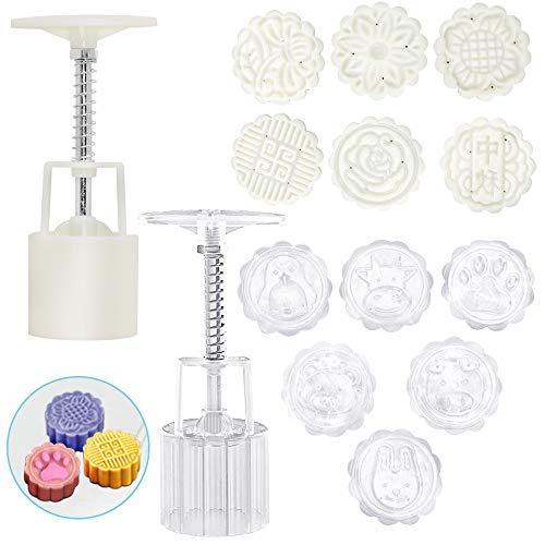 FineGood Mondkuchenform mit 12 Keksstempeln, Blume, Tier, Mondkuchenform, Presse 50 g, Handdruck, DIY-Werkzeuge zum Backen von Keksen