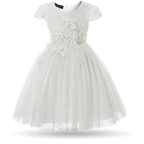 CIELARKO Mädchen Kleid Blume Stickerei Blumenmädchen Hochzeit Festkleid Kleider