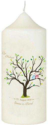 Livingstyle & Wanddesign Kerze zur Hochzeit mit eigenem Namen und Datum, (Motiv 1) Weiß