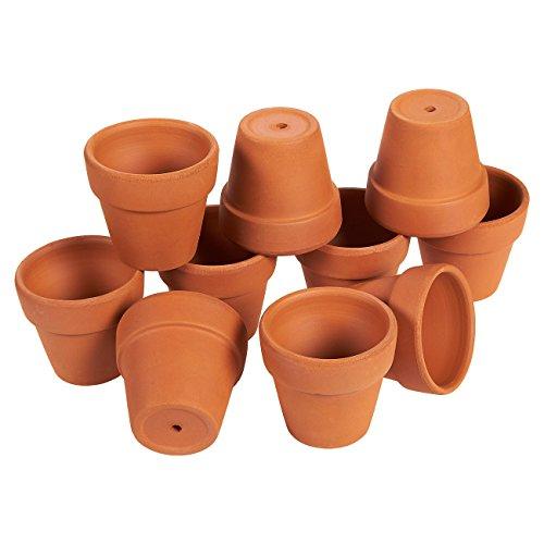 Mini Terrakotta-Blumentopf von Juvale (10 Stück) - Ideal für kleine Zimmerpflanzen, Balkon- und Terrassenpflanzen oder Ableger und Zöglinge - Mit Bodenloch - Braun-4 cmx 6,3cm