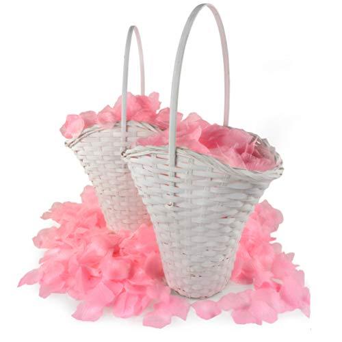 WeddingTree 2X Körbchen Blumenmädchen inkl. 2000 Blätter - Blumenkorb Hochzeit mit Rosenblättern - Streukorb Hochzeit für Blumen - Hochzeitskorb - Blumenkörbchen - Korb
