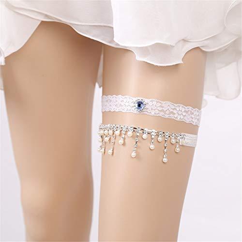 Personalisiert Braut Strumpfband Handgefertigt Stickerei Spitze Rüsche Blume Geformt Strass Quaste Hochzeit Einstellbar Bein Ring
