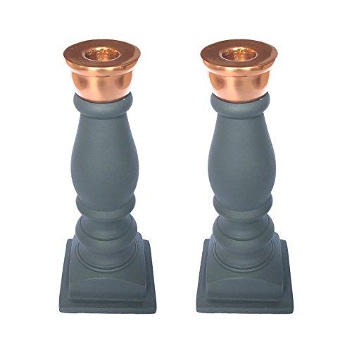 PTMD Hochwertige Kerzenständer für Stabkerzen/Tafelkerzen - Kerzenhalter in Anthrazit/Kupfer (2er Set)