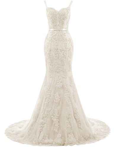 Ballkleider Lang Damen Abendkleider Hochzeitskleider Meerjungfrau Spitze mit Träger Champagner EUR32