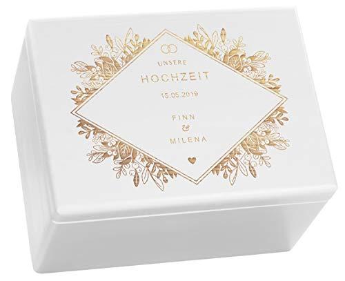 LAUBLUST Holzkiste zur Hochzeit - Florale Raute - Geschenkkiste Personalisiert mit Gravur - ca. 40x30x24cm, Weiß, FSC®