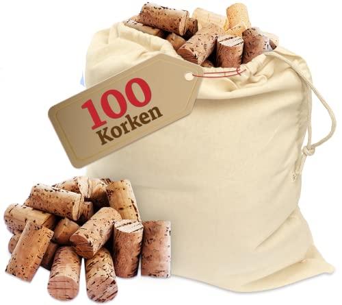 100 STÜCK Weinkorken - Bastelkorken in Karton - Korken - Auch für verkorken von Wein oder Dekorieren, Kreativ, DIY und Basteln - Flaschenkorken als Bastelzubehör in 24mm x 45 mm Naturmaterial Dunkel