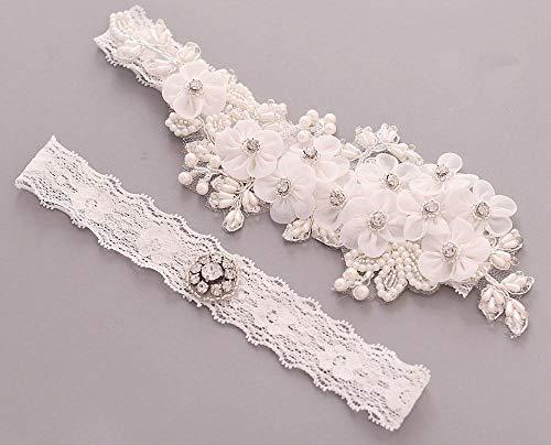 Charm4you Hochzeit Braut Lace Strumpfband,Braut Strass Perle Blume Stretch Spitze Strumpfband Gürtel-TH21,Hochzeit Strumpfband für Braut Kristall
