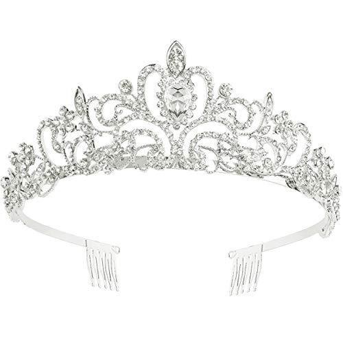 Makone Tiara Kristallkrone mit Strass-Kamm für Bridal Crown Hochzeit Proms Festzüge Prinzessin Parties Geburtstag (Kamm Stil-4)