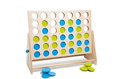 BS TOYS GA279 Vier Gewinnt - Strategie-/Geschicklichkeitsspiel für Kinder & Erwachsene - Für Indoor & Outdoor - Gesellschaftsspiel, für Kindergeburtstag & Party - Ab 6 Jahren, Für 2 Spieler