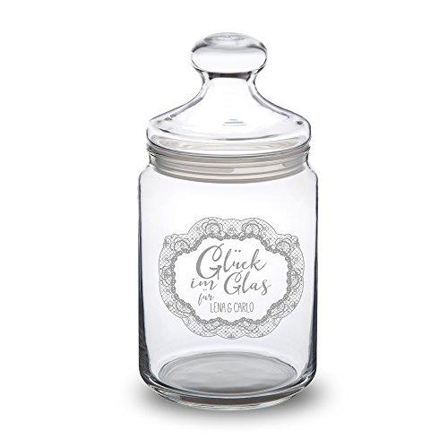 Casa Vivente Bonboniere mit Gravur Personalisiert mit Namen, Glück im Glas, Bonbonglas mit Deckel, Vorratsglas für Süßigkeiten, Hochzeitsgeschenke für Brautpaar, Valentinstagsgeschenk