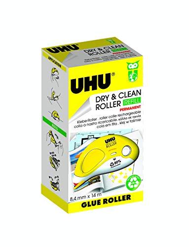UHU Kleberoller Dry&Clean Permanent, Klebt schnell, sauber und dauerhaft, 14 m x 8,4 mm