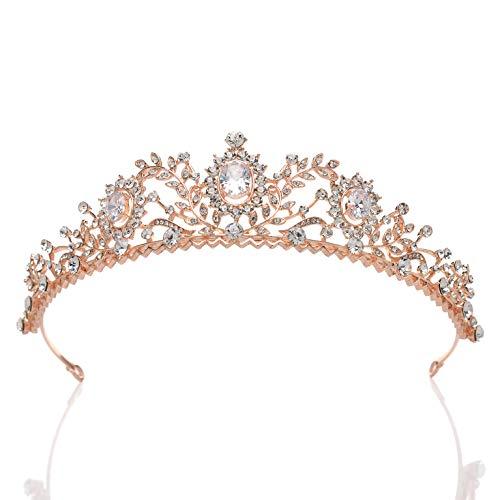 Sweetv: rosegoldene Hochzeit-Tiara für Frauen mit Strasssetinen, Braut-Kopfschmuck