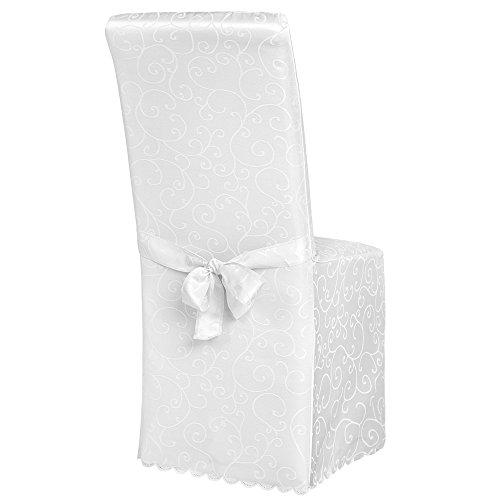 TecTake Stuhlhusse Stuhlüberzug Stuhlbezug mit Schleife - Diverse Farben - (Weiß/mit Muster)