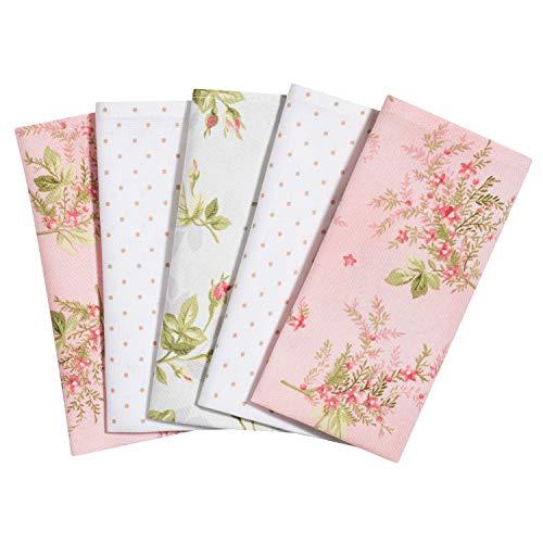 Taschentücher aus Stoff, waschbare, wiederverwendbare Öko Stoff-Taschentücher aus Baumwolle, 5 Taschentücher - Made in Germany (Rosenduft)