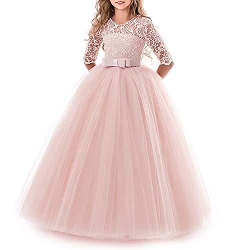 TTYAOVO Mädchen Festzug Ballkleider Kinder Bestickt Brautkleid (Größe170) 13-14 Jahre 378 Rosa
