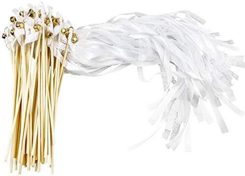 CODOHI 50er Pack Band Zauberstäbe Hochzeit Luftschlangen mit Glocken, Seidenfee Stab Party Favors für Hochzeit Baby Shower Party Aktivitäten Feiertagsfeier (weiße Spitze)