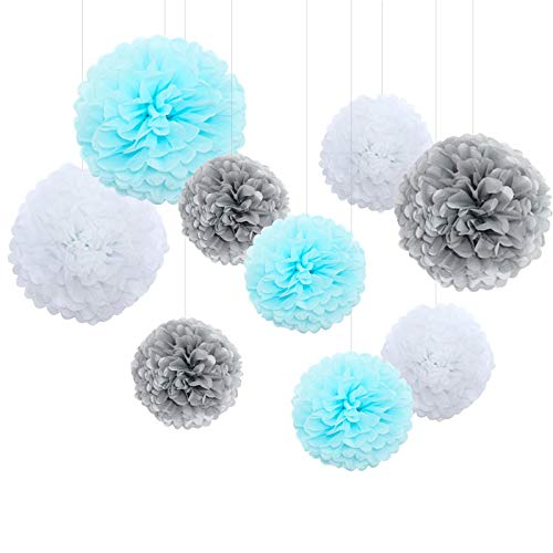 Feelshion 9 Stü. Wabenball Set Pompoms Honigwabe Dekoration Partydekoration für Baby Shower Geburtstag