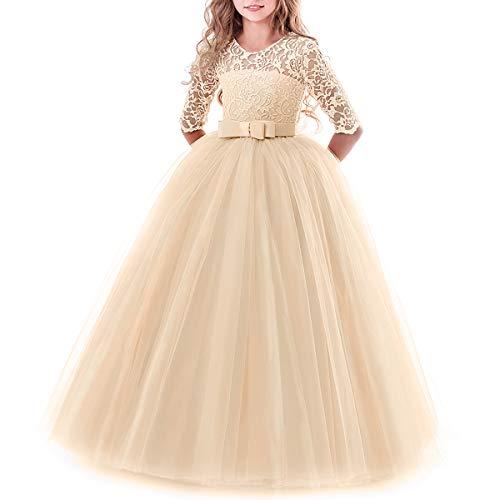 IBTOM CASTLE Brautjungfer Kleider für Mädchen Blumenmädchen Hochzeitskleid Lange Ärmel Schmetterling Festzug Spitze Champagner 2-3 Jahre